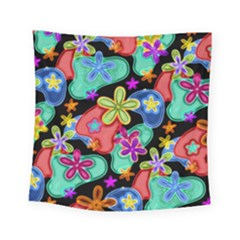 Colorful Retro Flowers Fractalius Pattern 1 Square Tapestry (small) by EDDArt