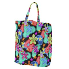Colorful Retro Flowers Fractalius Pattern 1 Giant Grocery Tote by EDDArt