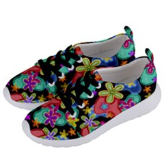 Colorful Retro Flowers Fractalius Pattern 1 Women s Lightweight Sports Shoes by EDDArt