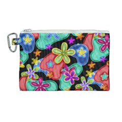 Colorful Retro Flowers Fractalius Pattern 1 Canvas Cosmetic Bag (large) by EDDArt