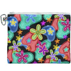 Colorful Retro Flowers Fractalius Pattern 1 Canvas Cosmetic Bag (xxxl) by EDDArt