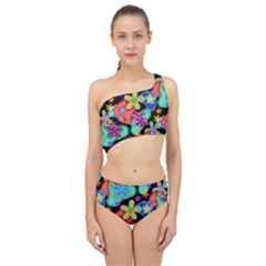 Colorful Retro Flowers Fractalius Pattern 1 Spliced Up Two Piece Swimsuit by EDDArt