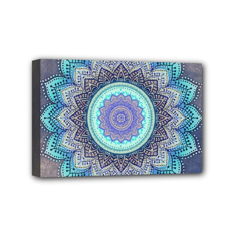 Folk Art Lotus Mandala Blue Turquoise Mini Canvas 6  X 4
