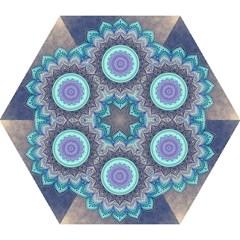 Folk Art Lotus Mandala Blue Turquoise Mini Folding Umbrellas
