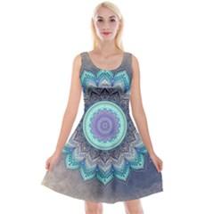 Folk Art Lotus Mandala Blue Turquoise Reversible Velvet Sleeveless Dress by EDDArt