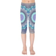 Folk Art Lotus Mandala Blue Turquoise Kids  Capri Leggings