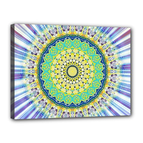 Power Mandala Sun Blue Green Yellow Lilac Canvas 16  X 12
