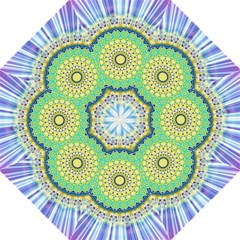 Power Mandala Sun Blue Green Yellow Lilac Hook Handle Umbrellas (large) by EDDArt