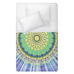 Power Mandala Sun Blue Green Yellow Lilac Duvet Cover (single Size) by EDDArt