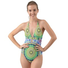 Power Mandala Sun Blue Green Yellow Lilac Halter Cut Out One Piece Swimsuit