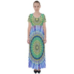 Power Mandala Sun Blue Green Yellow Lilac High Waist Short Sleeve Maxi Dress