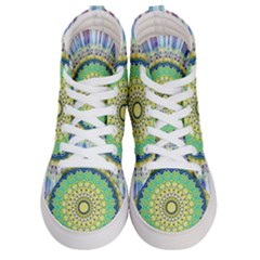 Power Mandala Sun Blue Green Yellow Lilac Men s Hi Top Skate Sneakers