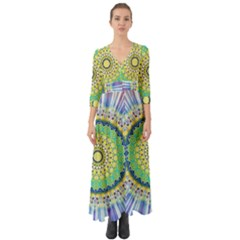 Power Mandala Sun Blue Green Yellow Lilac Button Up Boho Maxi Dress