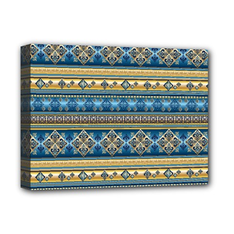 Vintage Border Wallpaper Pattern Blue Gold Deluxe Canvas 16  X 12   by EDDArt
