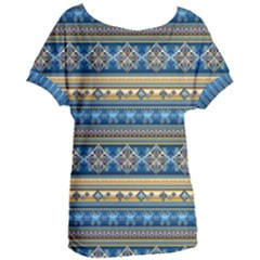 Vintage Border Wallpaper Pattern Blue Gold Women s Oversized Tee