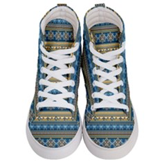 Vintage Border Wallpaper Pattern Blue Gold Men s Hi Top Skate Sneakers