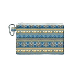 Vintage Border Wallpaper Pattern Blue Gold Canvas Cosmetic Bag (small) by EDDArt