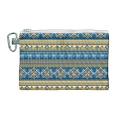Vintage Border Wallpaper Pattern Blue Gold Canvas Cosmetic Bag (large) by EDDArt