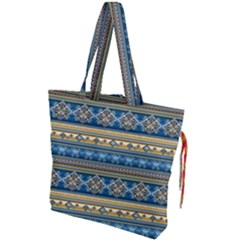 Vintage Border Wallpaper Pattern Blue Gold Drawstring Tote Bag by EDDArt