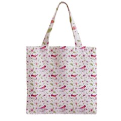 Watercolor Birds Magnolia Spring Pattern Zipper Grocery Tote Bag by EDDArt