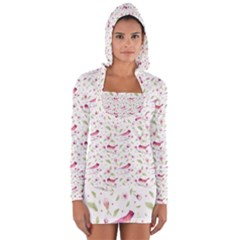 Watercolor Birds Magnolia Spring Pattern Long Sleeve Hooded T Shirt