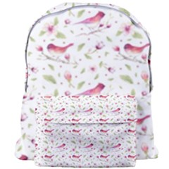 Watercolor Birds Magnolia Spring Pattern Giant Full Print Backpack by EDDArt