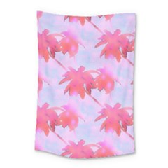 Palm Trees Paradise Pink Pastel Small Tapestry