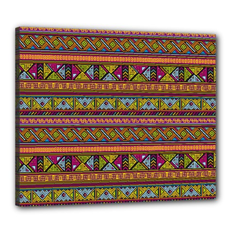 Traditional Africa Border Wallpaper Pattern Colored 2 Canvas 24  X 20  by EDDArt