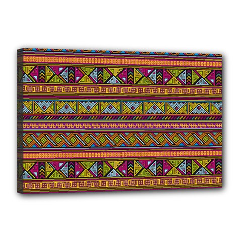 Traditional Africa Border Wallpaper Pattern Colored 2 Canvas 18  X 12  by EDDArt