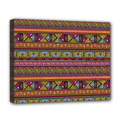 Traditional Africa Border Wallpaper Pattern Colored 2 Deluxe Canvas 20  X 16   by EDDArt