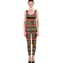 Traditional Africa Border Wallpaper Pattern Colored 2 One Piece Catsuit by EDDArt