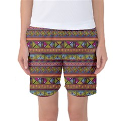 Traditional Africa Border Wallpaper Pattern Colored 2 Women s Basketball Shorts by EDDArt