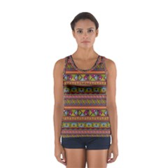 Traditional Africa Border Wallpaper Pattern Colored 2 Sport Tank Top