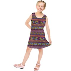 Traditional Africa Border Wallpaper Pattern Colored 2 Kids  Tunic Dress