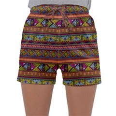 Traditional Africa Border Wallpaper Pattern Colored 2 Sleepwear Shorts by EDDArt