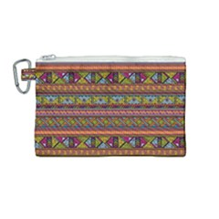 Traditional Africa Border Wallpaper Pattern Colored 2 Canvas Cosmetic Bag (medium) by EDDArt