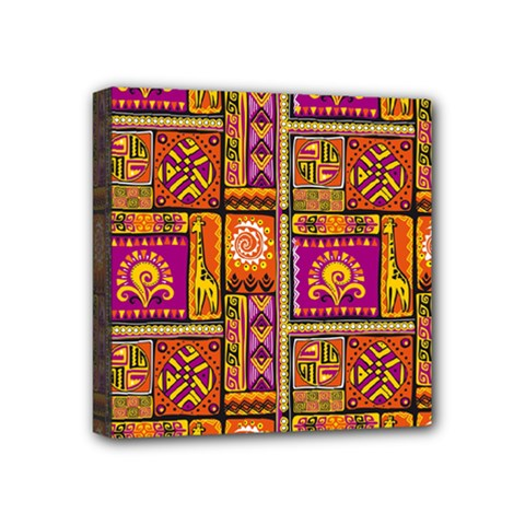 Traditional Africa Border Wallpaper Pattern Colored 3 Mini Canvas 4  X 4
