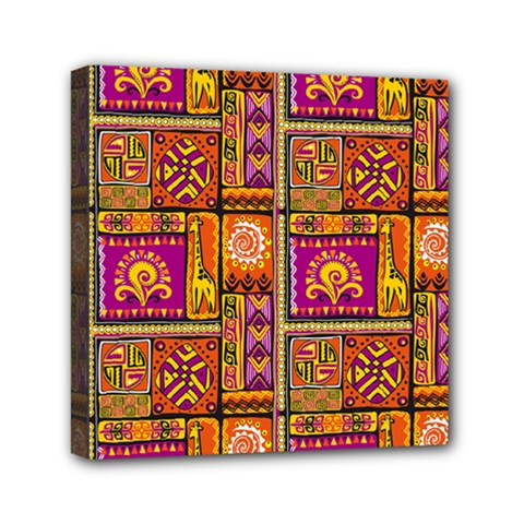 Traditional Africa Border Wallpaper Pattern Colored 3 Mini Canvas 6  X 6
