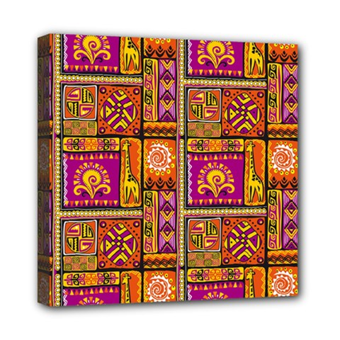 Traditional Africa Border Wallpaper Pattern Colored 3 Mini Canvas 8  X 8