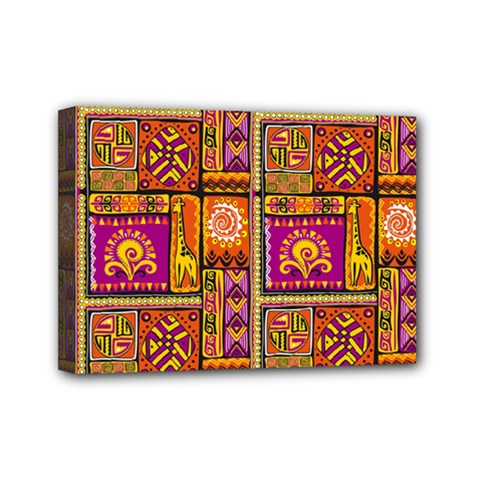 Traditional Africa Border Wallpaper Pattern Colored 3 Mini Canvas 7  X 5