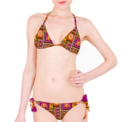 Traditional Africa Border Wallpaper Pattern Colored 3 Classic Bikini Set