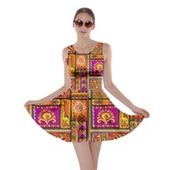 Traditional Africa Border Wallpaper Pattern Colored 3 Skater Dress