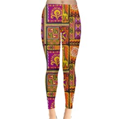 Traditional Africa Border Wallpaper Pattern Colored 3 Leggings