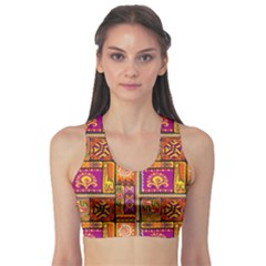 Traditional Africa Border Wallpaper Pattern Colored 3 Sports Bra