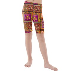 Traditional Africa Border Wallpaper Pattern Colored 3 Kids  Mid Length Swim Shorts