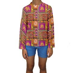 Traditional Africa Border Wallpaper Pattern Colored 3 Kids  Long Sleeve Swimwear