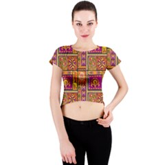 Traditional Africa Border Wallpaper Pattern Colored 3 Crew Neck Crop Top