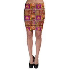 Traditional Africa Border Wallpaper Pattern Colored 3 Bodycon Skirt