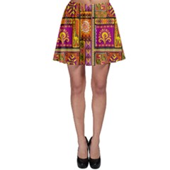 Traditional Africa Border Wallpaper Pattern Colored 3 Skater Skirt