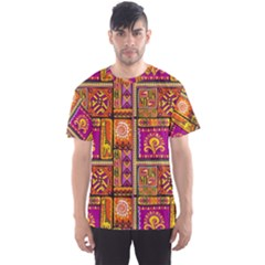 Traditional Africa Border Wallpaper Pattern Colored 3 Men s Sports Mesh Tee